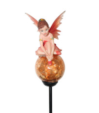 "Solar Tinkerbell Crackle Glass Ball Light, Red, 36"" Tall"