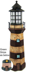 """39"""" Large Lighthouse Statue Solar Light, Turquoise Green and Ivory Stripes"""