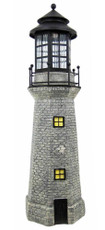 "39"" Large Lighthouse Fiberglass Solar Light, Gray Color"