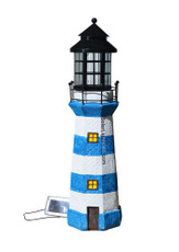 "35"" Large Lighthouse Statue Solar Light, Blue and White Stripes"