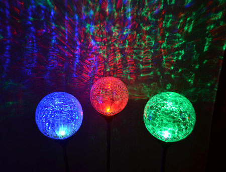 Festive Crackle Glass Solar Garden Stake Lights, A Set Of Red, Green And  Blue