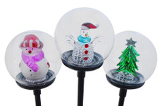 Solar Snowman and Christmas Tree Glass Ball Lights, 3 lights a set of perfect gifts