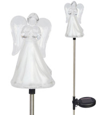 Solar Wholesale 1053-2 A Set of Two Frosty Praying Angel Solar Garden Stake LED Lights