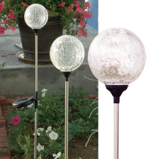"A Pack of 3 Crackle Glass Ball Solar Garden Lawn Yard Stake Color Changing Lights,  3.5"" Diameter Glass Balls"