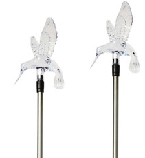 A pack of Two Hummingbird Solar Garden Stake Lights, Color Change LEDs