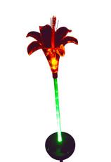 Lily Flower Solar Light with Green-lit Stem, 2 LED lights, solar powered