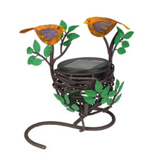 "7"" Love Bird and Nest Statue w./ solar powered LED light"