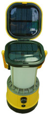 Yellow Solar Camping Lantern & Cell Phone Charger, White Fluorescent Light