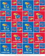 University of Kansas Fabric Fine Cotton Classic Geometric Design-Sold by the Yard