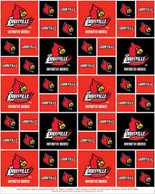 University of Louisville Fabric Fine Cotton Classic Geometric Design-Sold by the Yard