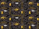 Iowa Hawkeyes Fleece Blanket Fabric-Digi Camo Design-Sold By The Yard