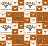 University of Texas Fabric Fine Cotton Classic Geometric Design-Sold by the Yard