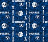 Brigham Young Digital Fleece Camo Allover Design-Sold by the yard
