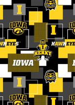 University of Iowa New Block Fleece Design-Sold By The Yard