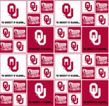 University of Oklahoma Fabric Fine Cotton Classic Geometric Design-Sold by the Yard