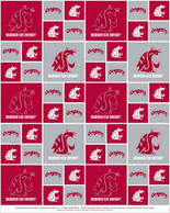 Washington State University Fabric Fine Cotton Classic Geometric Design-Sold by the Yard