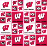 University of Wisconsin Fabric Fine Cotton Classic Geometric Design-Sold by the Yard