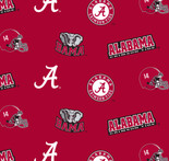 University of Alabama Fabric Fine Cotton Classic School Colored Ground Allover Design-Sold by the Yard