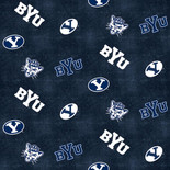 BYU Flannel Fabric with Distressed Ground and logo and mascot print-100% cotton-Sold by the Yard