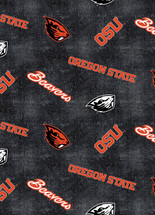 Oregon State Flannel Fabric with Distressed Ground and logo and mascot print-100% cotton-Sold by the Yard
