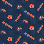 Auburn Flannel Fabric with Distressed Ground and logo and mascot print-100% cotton-Sold by the Yard