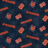 Syracuse Flannel Fabric with Distressed Ground and logo and mascot print-100% cotton-Sold by the Yard