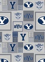 BYU Grey Box Fleece Design-Sold by the Yard