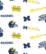 University of Michigan Cotton Fabric White Ground Allover Design-Sold by the Yard