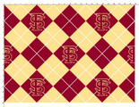 Florida State University Fabric Super Soft Collegiate Fleece Argyle Design-Sold by the Yard