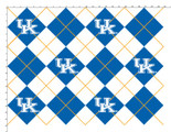 University of Kentucky Fabric Super Soft Collegiate Fleece Argyle Design-Sold by the Yard