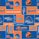 Boise State University Fabric Super Soft Fleece Classic Geometric Design-Sold by the Yard