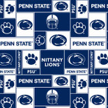 Pennsylvania State University Fabric Super Soft Fleece Classic Geometric Design-Sold by the Yard