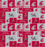 Washington State University Fabric Super Soft Fleece Classic Geometric Design-Sold by the Yard