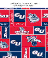GONZAGA UNIVERSITY-COLLEGE-UNIVERSITY-LOGO-PRINTED-FLEECE-NO SEW FLEECE BLANKET-FABRIC