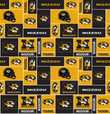 UNIVERSITY OF MISSOURI-COLLEGE-UNIVERSITY-LOGO-PRINTED-FLEECE-NO SEW FLEECE BLANKET-FABRIC-05