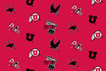 University of Utah Fabric Super Soft Collegiate Classic Fleece Allover Design-Sold by the Yard