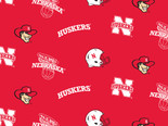University of Nebraska Fabric Super Soft Collegiate Classic Fleece Allover Design-Sold by the Yard