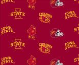 Iowa State University Fabric Super Soft Collegiate Classic Fleece Allover Design-Sold by the Yard