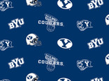 BRIGHAM YOUNG UNIVERSITY-COLLEGE-UNIVERSITY-LOGO-PRINTED-FLEECE-NO SEW FLEECE BLANKET-FABRIC