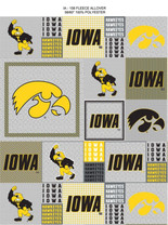 University of Iowa Heather Grey Printed Fleece Fabric-Sold by the Yard