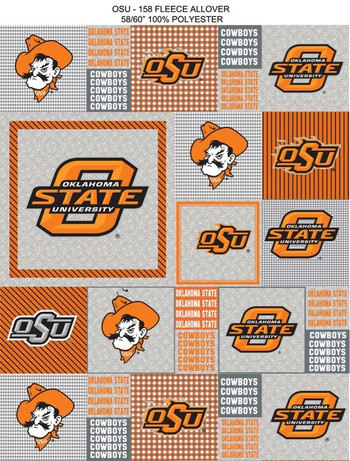 oklahoma state university heather grey printed fleece fabric sold by the yard college fabric store. Black Bedroom Furniture Sets. Home Design Ideas