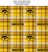 University of Iowa Plaid Printed Fleece Design-Sold by the Yard