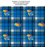 University of Kansas Plaid Printed Fleece Design-Sold by the Yard