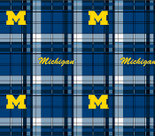 University of Michigan Plaid Printed Fleece Design-Sold by the Yard