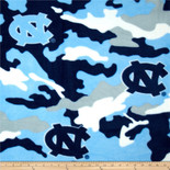 University of NORTH CAROLINA Camouflage Fleece Fabric Sold by the yard
