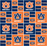 Auburn University Fabric Fine Cotton Classic Geometric Design-Sold by the Yard