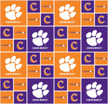 Clemson University Fabric Fine Cotton Classic Geometric Design-Sold by the Yard