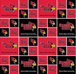 ILLINOIS STATE UNIVERSITY-COLLEGE-UNIVERSITY-LOGO-PRINTED-COTTON-QUILTING-FABRIC