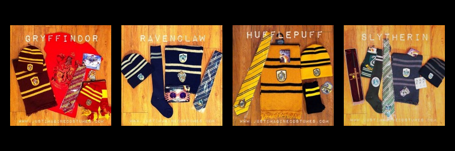 Hogwarts House hats, ties, scarves, and patches.