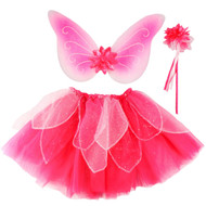 Pink Fairy Set - Wings, Wand, and Tutu Skirt